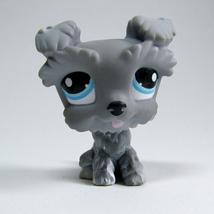 Littlest Pet Shop # 1393 Gray Schnauzer Blue Eyes Puppy Dog - $119,31 MXN