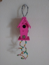 Mini pink bird house with genuine jade swarovski crystals and turquoise ... - $22.00