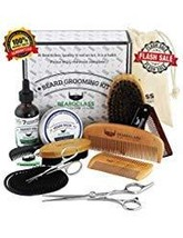 BEARDCLASS Beard Grooming Kit Set for Men 12 in 1 - 100% Bamboo Boar Brush and W