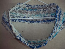Crocheted Blue Gray and White Ombre Lacy Cowl Neckwarmer Scarf - $13.00