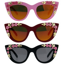 Womens Oversize Cat Eye Mirror Lens Flower Jewel Sunglasses - $12.95