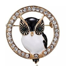 Vintage Inspired Round Rhinestone Owl Broach Brooch - Bird Jewelry Pin - ₹897.51 INR