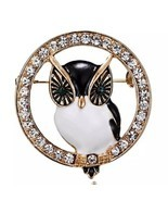 Vintage Inspired Round Rhinestone Owl Broach Brooch - Bird Jewelry Pin - $11.83