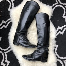 Equestrian Black Leather Tall Riding Boots Size 6 - $23.38