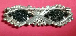 PASTE RHINESTONE BLACK CHECKERBOARD GLASS SILVER TONE BAR PIN BROOCH - $40.00