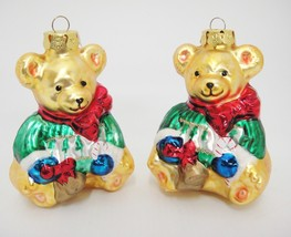 "Figural Mercury Glass 2 Gold Bears Green Sweater 4"" Christmas Ornament G... - $9.89"