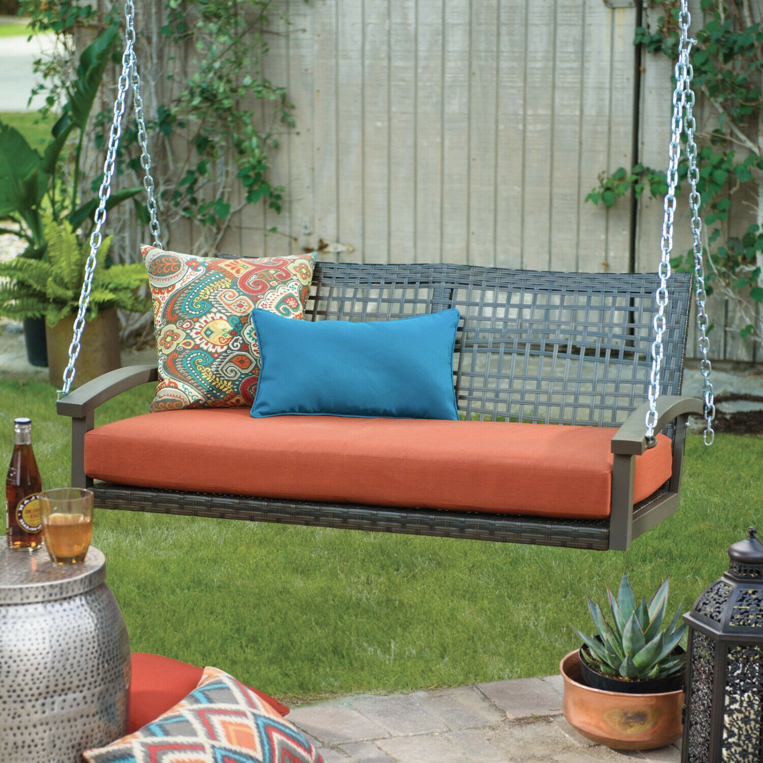 Porch Swing Patio Wicker Hanging Seat Chair Loveseat Outdoor Cushion Home Resin image 6