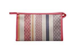 Vintage Cosmetic Case Red Striped Waterproof Clutch
