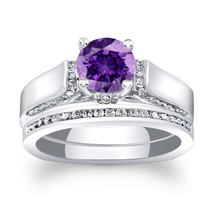 Purple Amethyst Womens Engagement Ring Set 14k White Gold Finish 925 Rea... - $85.99