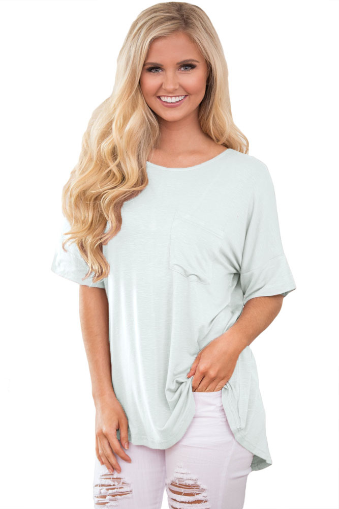 White Chic Relaxing Fit Pocket Front Hollow-out Blouse