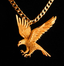 Vintage gold Eagle Brooch and Necklace - Military bird - Diamond cut set... - $145.00