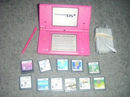 Nintendo DSi Style Boutique Pink Handheld System Console and Lot 11 Game... - $52.35