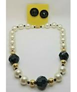 Fashion Jewelry Faux Pearl Black Plastic Beaded Necklace & Pierced Earri... - $12.34