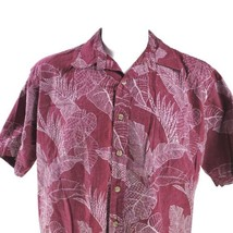 Cooke Street Reverse Print Magenta Red Floral Leave Fronds Large Hawaiia... - $29.69