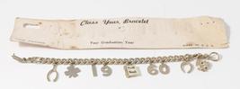 "Vintage Silver Toned 1960 ""Class Year"" Charm Bracelet & Original Card - ... - $22.99"
