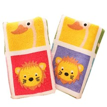 Set of 2 Unique Colorful Animals Soft Cotton Baby Washcloths Toldder Facecloths image 2