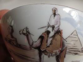 Souvenir Demitasse Cup & Saucer Bareuther Bavaria Germany Egypt Camel Pyramids - $19.79