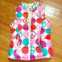 Girls Old Navy Pink Polka Dot Peace Sign Hippie Zip Up Puffer Vest Xlarge XL EUC - $24.99
