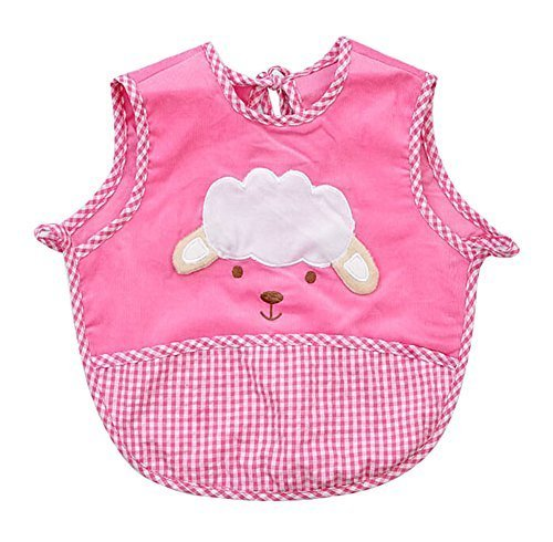 Cute Cartoon Sheep Sleeveless Baby Bibs Baby Feeding Bibs Dark PINK, 0-2 Years