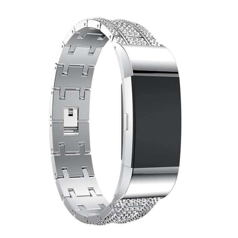 Crystal Watch Band Luxury Alloy Diamante Metal Strap Replacement for Fitbit Char