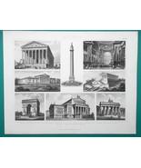 ARCHITECTURE France Churches Arches Munich Berlin Paris - 1870 Engraving... - $16.20