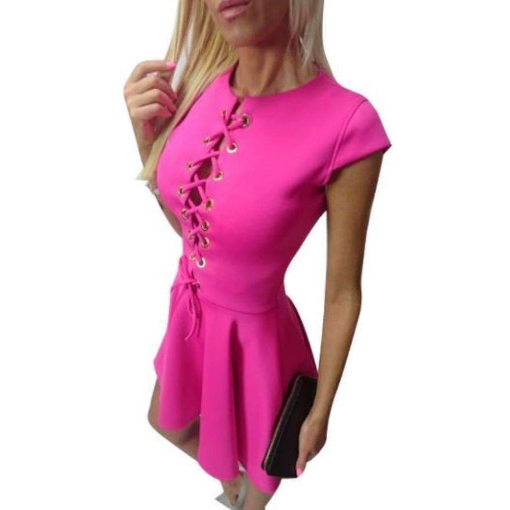 S for less mini dress small pink candy color lace up pleated sexy women mini dress 1416995536927