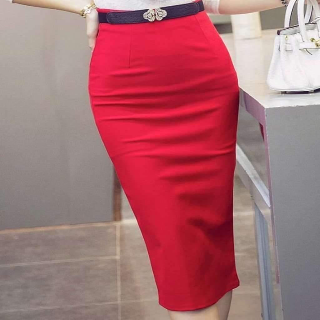 Ess for less pencil skirt xs red fitted high waist elegant women knee length skirt 1397480947743