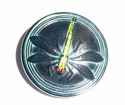 Awesome Green Dragonfly Black Opaque Czech Glass Shank Button 31.5mm Dra... - $8.99