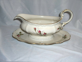 Vintage Rosenthal China Pompadour Selb Germany Gravy Boat & Attached Pla... - $54.45