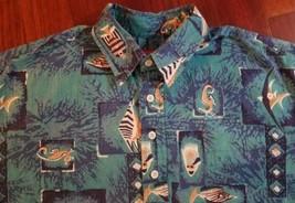 Reyn Spooner Joe Kealoha's Hawaiian Shirt Blue Fish Seahorse Aloha Mens M - $23.36