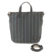 Prada 2WAY Shoulder Bag Pattern BN2052 Navy x Green Used Grade AB - $521.00