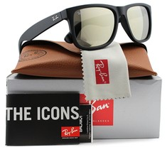 New RAY-BAN Justin Rare Sunglass RB4165 622/5A Matte Black w/Gold Mirror 51 - $127.35