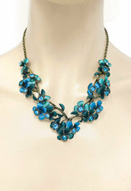 Crystal Teal Blue & Green Enameled Flower Floret Casual Necklace Earrings Set - $20.90