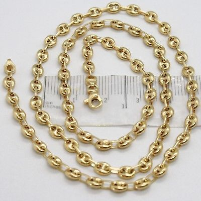 MASSIVE 18K YELLOW GOLD SOLID MARINER CHAIN 4 MM, 24 INCHES, ITALY MADE NECKLACE