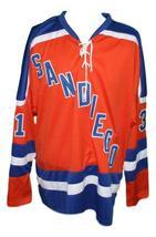Custom Name # San Diego Mariners Retro Hockey Jersey New Orange Wakely Any Size image 1