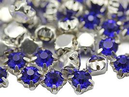 6mm SS30 Sapphire Sew on Crystal Diamante Rhinestone Rose Montee Beads f... - $11.87