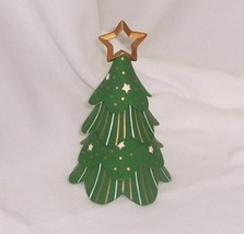 PartyLite Holiday Cheer Stackable Tree Hand Painted Bisque Porcelain Ret... - $17.77