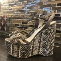 Michael Kors tan leather snakeskin wedge platform - $143.45