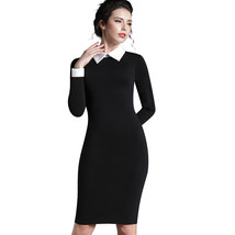 Nice-forever Career Women Autumn Turn-down Collar Fit Work Dress Vintage... - $29.17