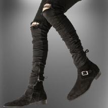 Handmade Men Black Suede Monkstrap Shoes image 1
