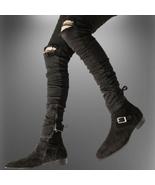 Handmade Men Black Suede Monkstrap Shoes - $134.99+