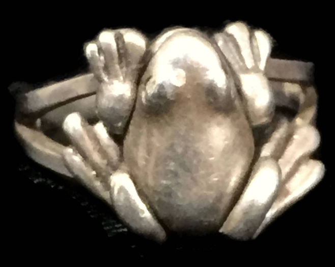 Vintage Frog or Toad Sterling Silver Moving Ring or Band Size 6.50 Legs Move