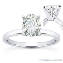 Oval Brilliant Cut Moissanite 14k White Gold 4-Prong Solitaire Engagemen... - £344.43 GBP+