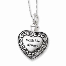 ANTIQUED STERLING SILVER HEART ASH HOLDER KEEPSAKE PENDANT & NECKLACE - ... - $116.32