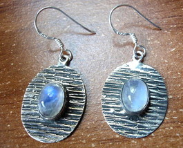 Rainbow Moonstone Etched Line Earrings 925 Sterling Dangle Drop Oval Ellipse New - $19.79