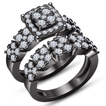 Round Cut White CZ Bridal Engagement Ring Set 14k Black Gold Plated 925 Silver - $99.45