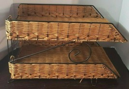 2Tier Letter Tray Wicker Desk Organizer Office File Document Sorter Pape... - $19.77