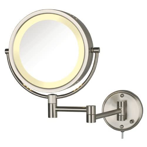 Primary image for Jerdon HL75N 8.5-Inch Lighted Wall Mount Makeup Mirror with 8x Magnification, Ni