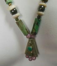 Vintage Green Kingman Turquoise, Hematite, Silver bead Pendant Necklace  - $128.70