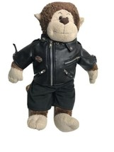 GENUINE Build A Bear Harley Davidson Faux Leather Jacket Monkey Plush Do... - $22.85